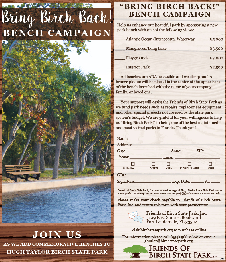 Bench Campaign at Hugh Taylor Birch State Park