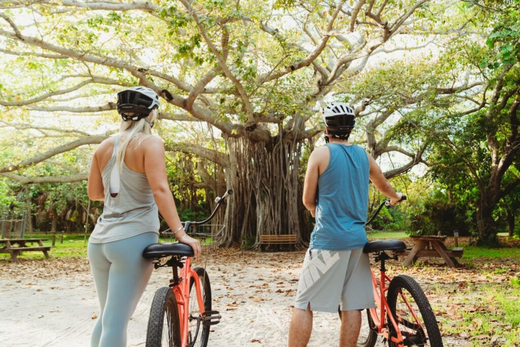 Photo of a couple bicycling