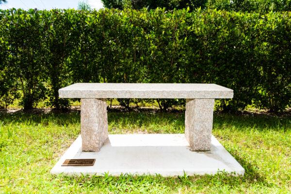Granite Bench in Marti's Meditation Garden