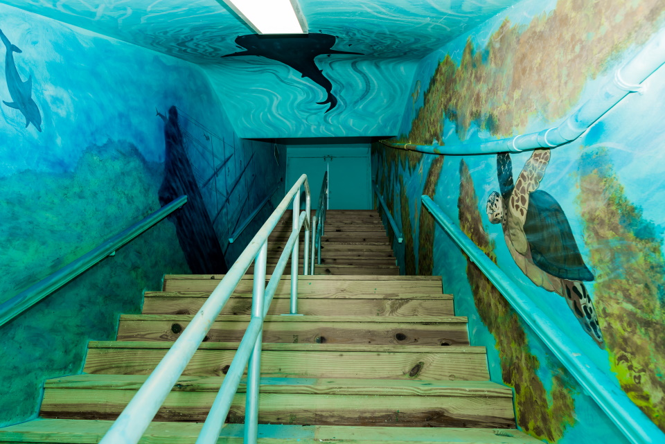 Exit of underground tunnel after completion of a decorative mural of an ocean scene.