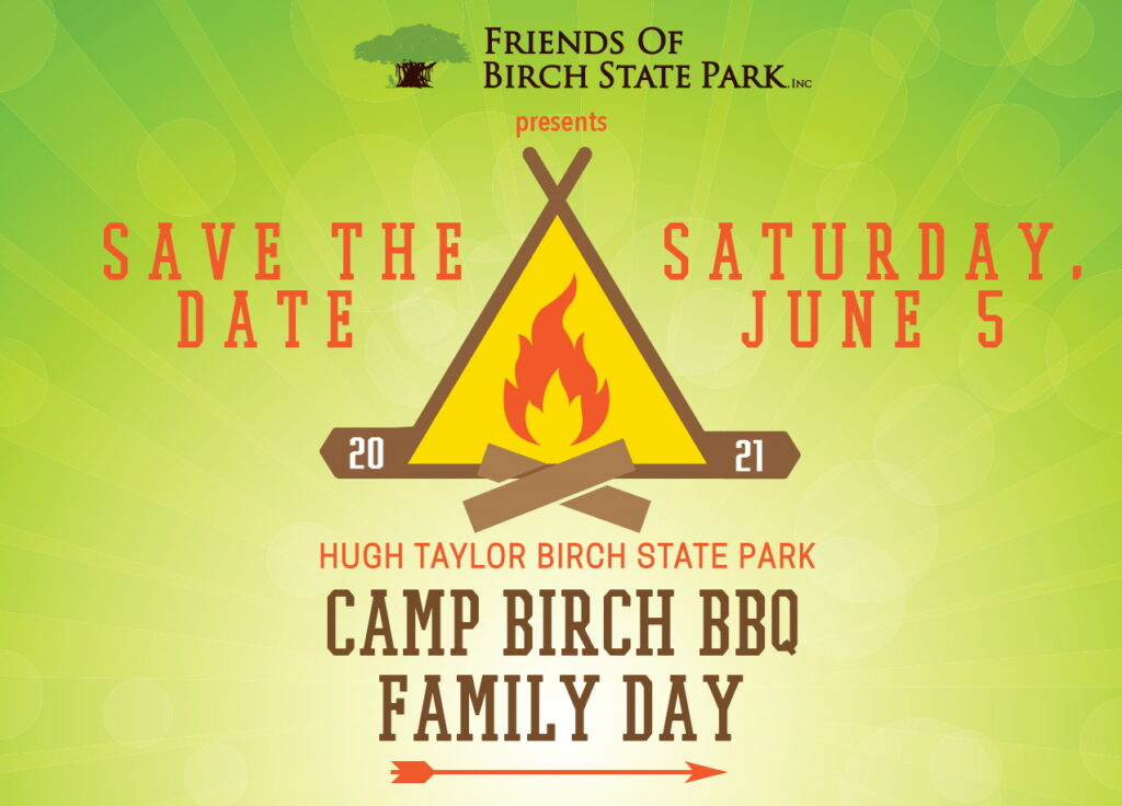 Flyer for Camp Birch BBQ Family Day on Saturday, June 5th 2021